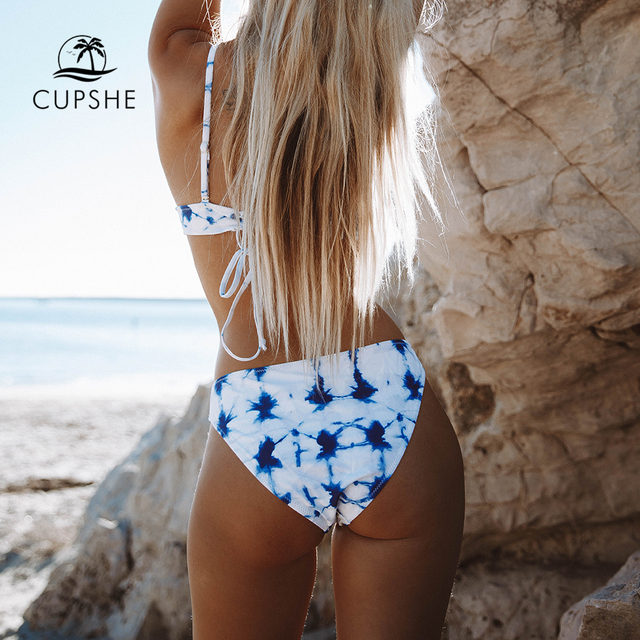 CUPSHE Blue Tie-dye Bikini Sets Women Lace Up Sexy Thong Two Pieces Swimsuits 2020 Girl Cute Beach Bathing Suits 2