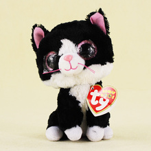 15cm Ty Beanie Boos Big Eyes Plush Toy the Black and White Cat Stuffed Plush Toy