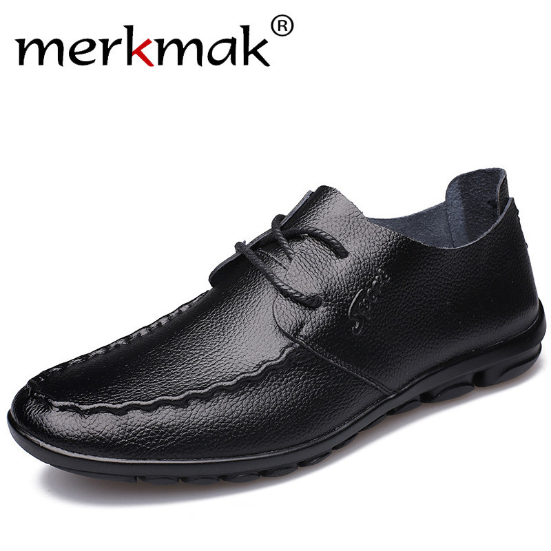 Merkmak Genuine Leather Mens Casual Shoes 2018 New Fashion Handmade Moccasins Leather Men Flats Lace Up Men's Leisure Shoes brand new arrival handmade genuine leather men flats spring fashion lace up brand casual shoes ege breathable leisure shoes men