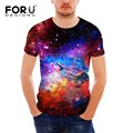 FORUDESIGNS T-shirt Men Tops Short Sleeve Universe Galaxy Space 3D T Shirt Funny Tops Tee Teen Summer Male tShirts Plus Size