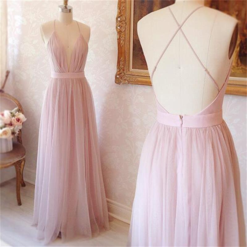 78ba0e43d55f Sexy Light Pink Floor Length Tulle Prom Dresses 2017 Deep V neck Backless  Pleat Women Party Dress Gowns Vestido de festa