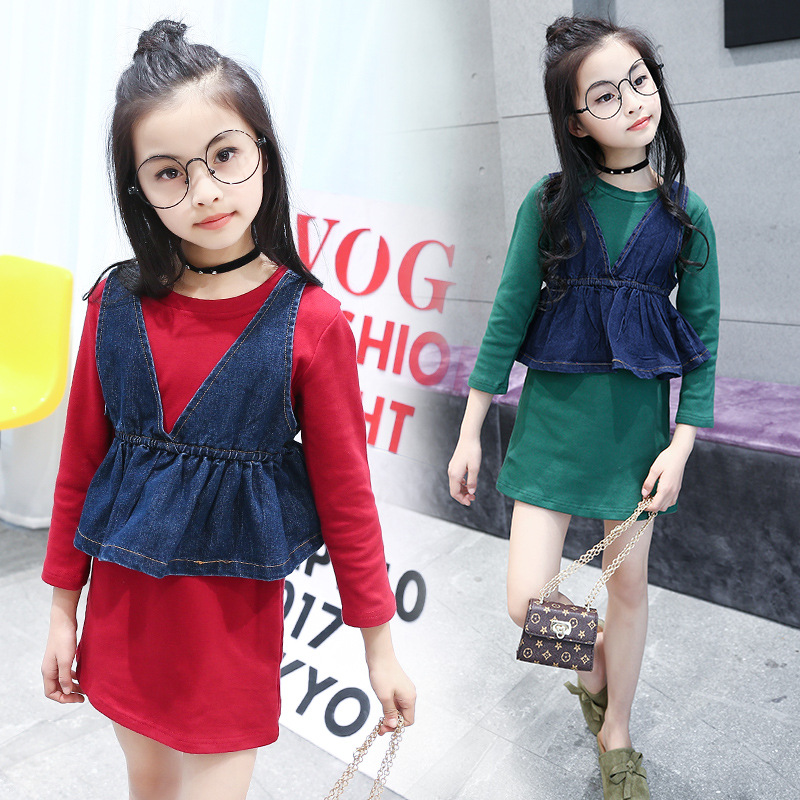 Children Clothing Girls Clothes 2017 Autumn 2PCS Sets Denim  Vest Top+Long Sleeve Skirt Suit Princess Dress Pencil Skirt  2