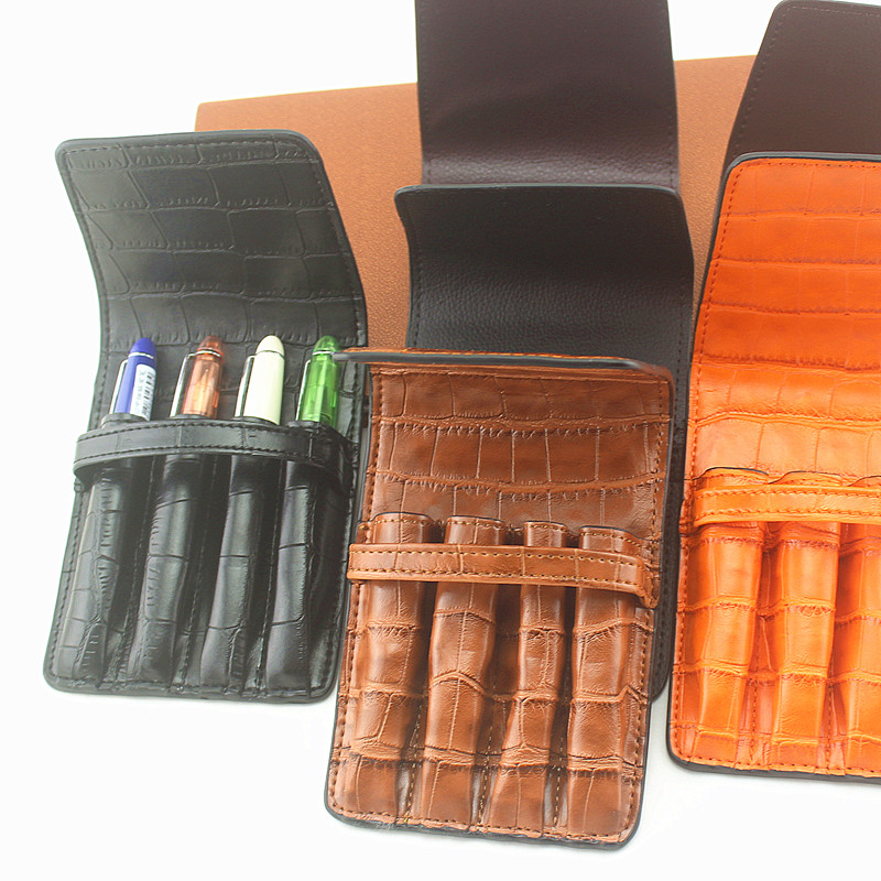 Handmade Leather Pen Case Pencil Bag Fountain Sleeve Bag Vintage Pouch For 4 Pen Stylus Ballpoint Cute Stationary