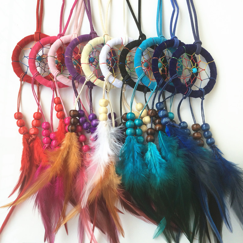 6cm Diameter 12pcs/lot in mixed colors New Arrival Free Shipping Colorful Feather Indian Dream Catcher Necklace