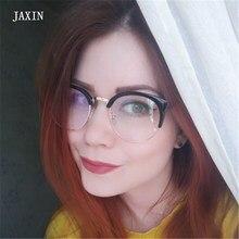 JAXIN Fashion Cat Eyes Sunglasses Women retro transparent half frame Sun Glasses Ms brand design wild cute mirror UV400 okulary