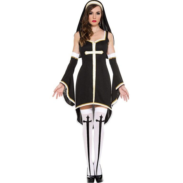 Ensen Nuns uniform with cross Medival Fancy Dress Halloween font b cosplay b font costume for