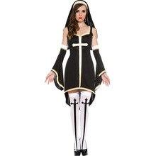 Ensen monjas uniforme con cruz medieval fancy dress cosplay disfraces de halloween para las mujeres fantasia infantil de disfraces cosplay
