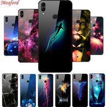 Luxury Glass Case For Huawei Honor 8C Honor8C Hard Back Cover 8 C TPU Frame Cool Coque Funda