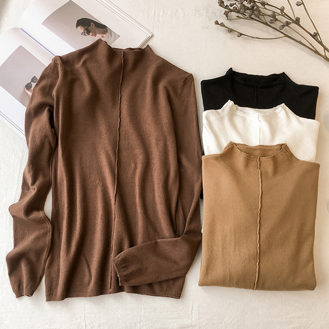 Autumn Winter 2017 Women Sweaters And Pullovers Clothing Casual Knitted Women Tops Long Sleeves Basic Sweaters For Women C7N605A 1