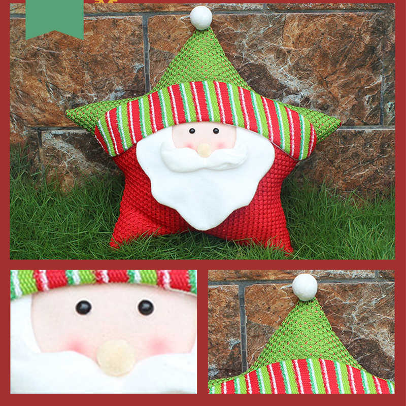 2018 New Year Christmas Pentagram cushion Decoration Santa Snowman Elk Five Star Pillow New Christmas Gift Home Party Decor