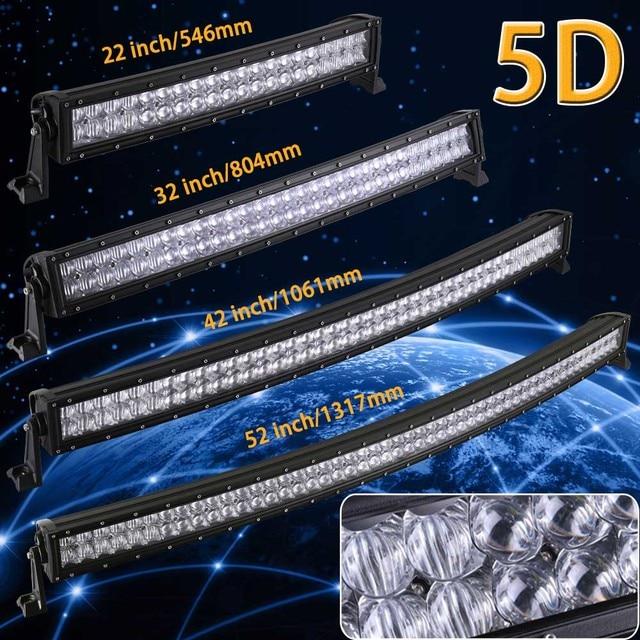 5D 22 32 42 52 inç kavisli LED ışık çubuğu 12V 24V Combo işın Offroad tekne araba kamyon ATV SUV 4WD 4x4 çalışma LED lamba