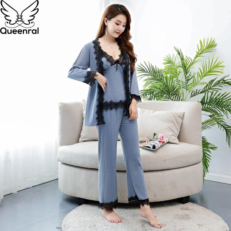 Queenral 3pcs Pyjama For Women Gold Velvet Warm Winter   Pajamas     Sets   Femme Sexy Lace Robe Pijamas Sleepwear Nightwear Nightie