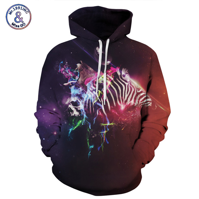 Mr.1991INC Brand 3D Hoodies Men Fashion Starry Sky Print Sweatshirt With Hat Couples Hoody Tops Sportwear