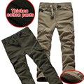 Plus tamaño de Invierno de Doble Capa de Los Hombres Clásicos Pantalones de Carga Caliente Pantalones Holgados Pantalones de Algodón Pantalones de Lana gruesa Para Los Hombres Del Ejército verde