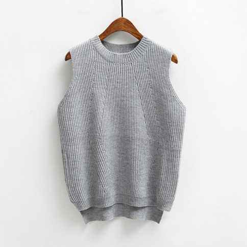 Autumn Winter Korean Style Casual Round Neck Knitted Sweater Vest - Women's Clothing - Photo 4