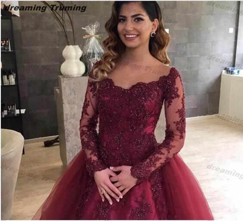 d256102f8a27 ... vestido de debutante Sheer Long Sleeve Quinceanera Dresses Burgundy  Ball Gown Lace Up Back Long Birthday ...