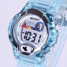 Disney бренда Микки Дети Цифровые Наручные Часы 50 м водонепроницаемый Микки Мальчик Девочка Сигнализация календарь Световой Плавать спортивные часы