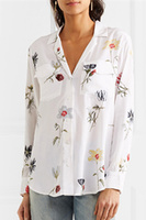 Newest EQ 100 Silk Plant Flower Print Long Sleeve Lady Blouses Pajama Style Notched Women Shirt