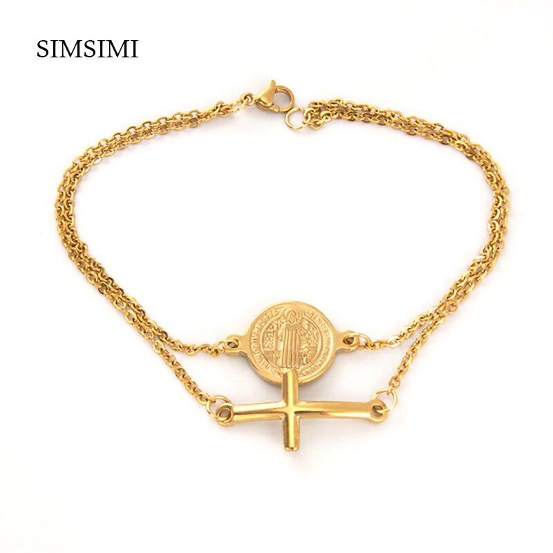 100% Stainless Steel Gold/silver Religious Bracelet Saint Benedict Medal Cross Charm Catholic Medals Bracelets For Women Men