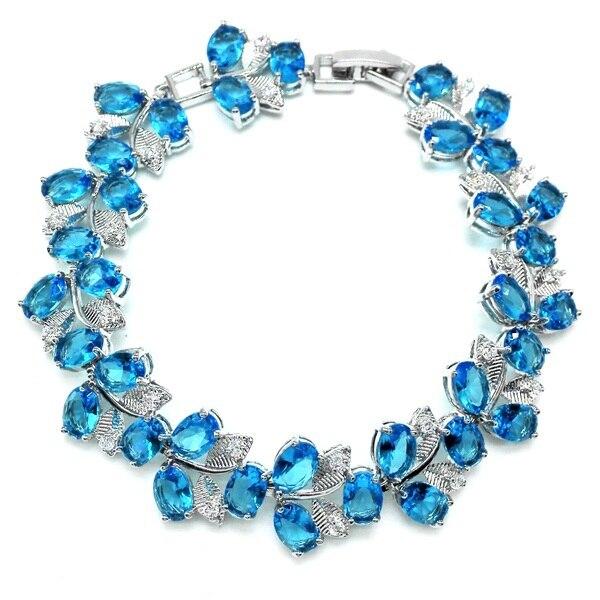 b7821c597f2 Top venda mar - azul AAA Zrcon   ródio de cristal banhados braceletes e pulseira  para as mulheres de saúde Nickel   Lead free moda jóias
