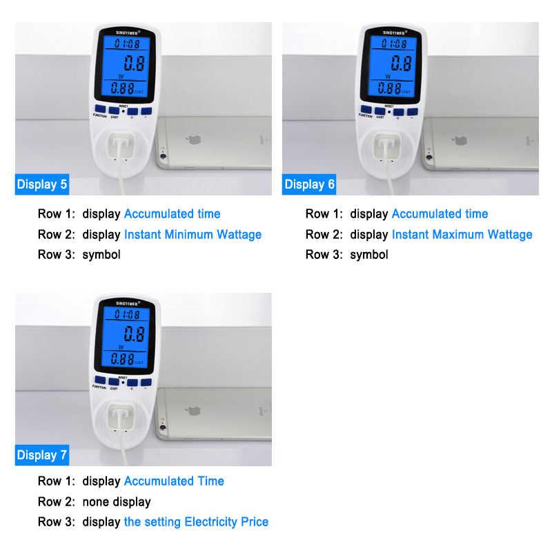 UE STATI UNITI REGNO UNITO FR BR AU Presa di corrente Digitale Wattmetro Consumo di energia Watt Contatore di Energia KWh AC 230V 120V di Energia Elettrica con retroilluminazione
