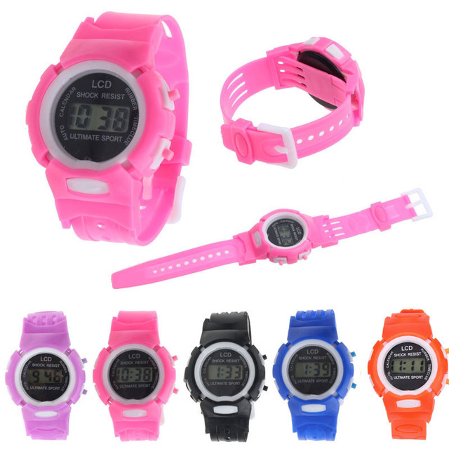 New Boys Girls Students Time Clock Electronic Digital LCD Wrist Sport Watch in P