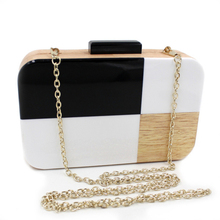 Woman Promotion Flap Handbags Purses Geometric Acrylic Wooden Banquet Evening Bag Ladies Day Clutches Single Shoulder Handbag