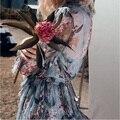 Новая Мода с длинным рукавом туника пляж комбинезоны сексуальные женщины синий цветочный принт элегантный комбинезон высокое качество марка одежды 2017