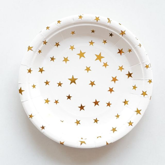 10pcs Lot Gold Star Theme Paper Plates Birthday Wedding Party Supplies Decoration Cake Dish Disposable