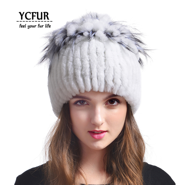 YCFUR Winter Fur Caps Women 4 Colors Stripes Real Rex Rabbit Fur Hats With Fur Trims Natural Rabbit Fur Beanies Hats Winter