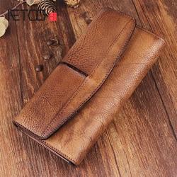 AETOO оригинальный ретро кошелек для мужчин и женщин длинный кошелек мужской молния Пряжка для бумажника кожаный Молодежный тренд Винтаж