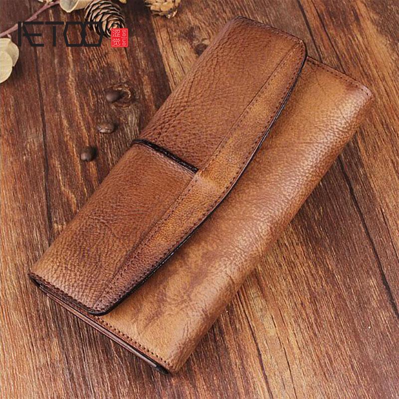 AETOO Original retro wallet men and women long wallet men zipper wallet buckle leather youth trendy Vintage