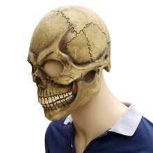 Realista assustador crânio máscara cabeça cheia látex horror fantasma halloween festa máscara traje cosplay adereços engraçado adulto um tamanho