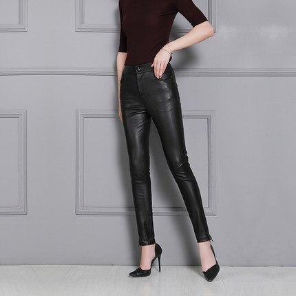 Mouton P18 Black Femmes Pantalon khaki D'impression Taille 2019 Peau En De Haute Slim vwdq0P