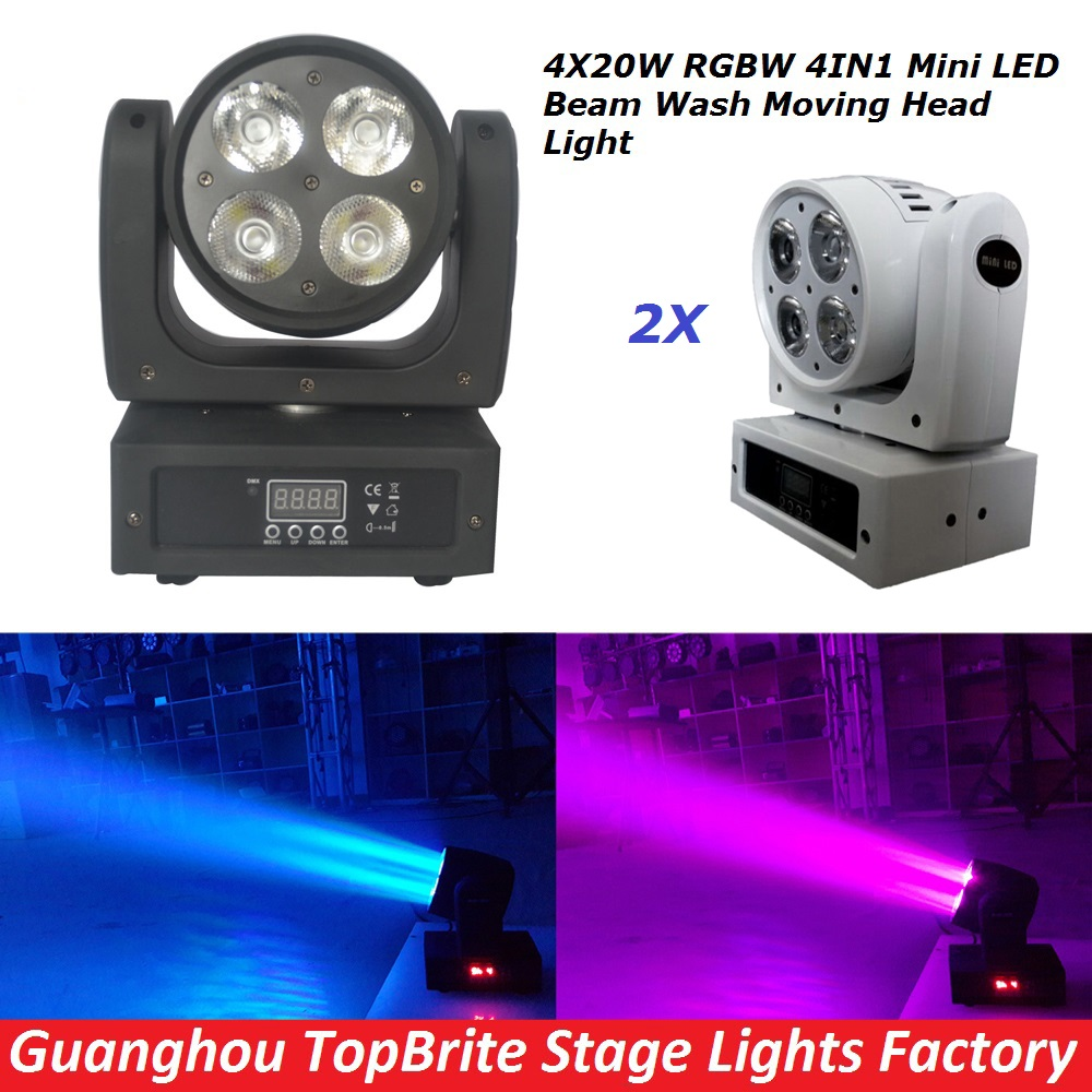 2Pcs/Lot High Quality 4x20W Led Beam Wash Moving Head Light 9/16 Chs RGBW 4IN1 DJ Disco Star Shower DMX Stage Lighting Effect