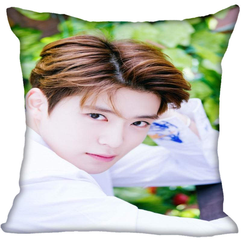 Custom Kpop NCT JaeHyun Printed Square Silk Pillowcases 40x40cm,35x35cm One Side Satin Pillowcase Custom Logo