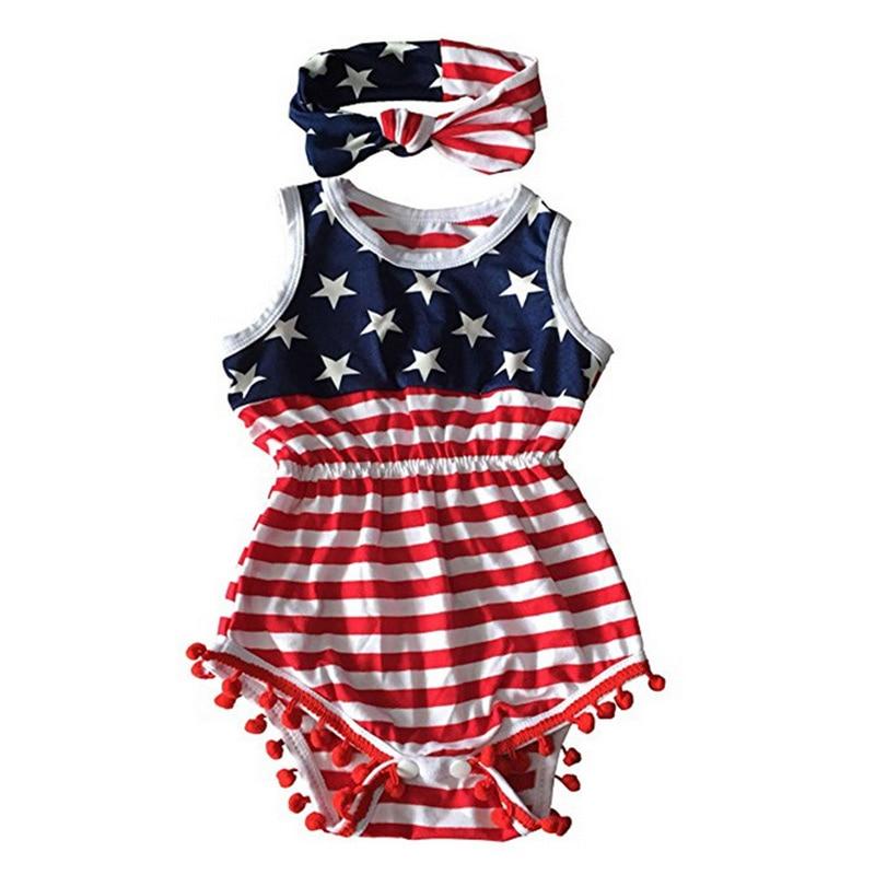 Toddler Baby Girls Tassel Sleeveless Romper American Flag Print Newborn Kids Jumpsuit with Headband BM88
