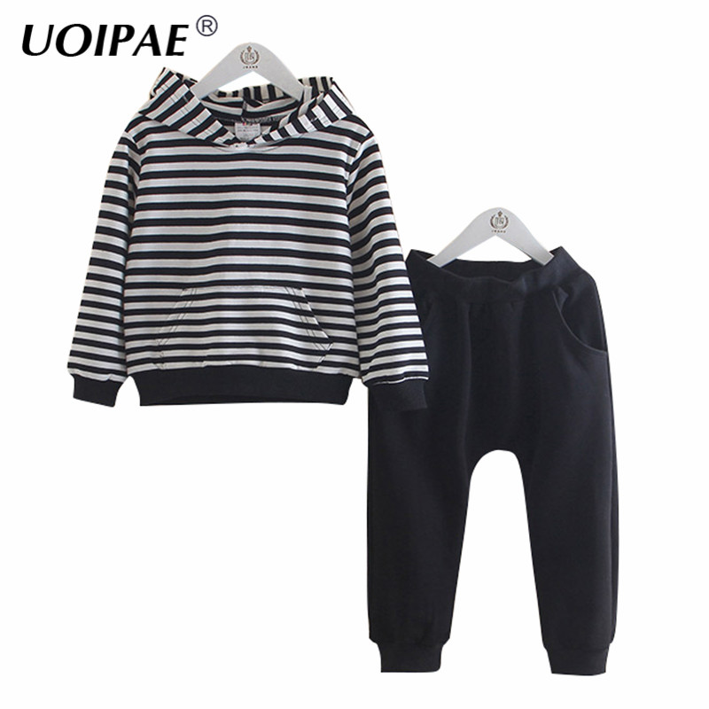 Set Clothing Girls 2018 Autumn Casual Sports Suit Hooded Striped T Shirt+Solid Pants Simple 2 Pcs Children Clothing B0598
