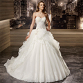 Amdml Exquisite Crystal Beading Lays Bodice Ball Gown Wedding Dress 2017 Tiered Alencon Lace Flowers Tulle Skirt Robe De Mariage