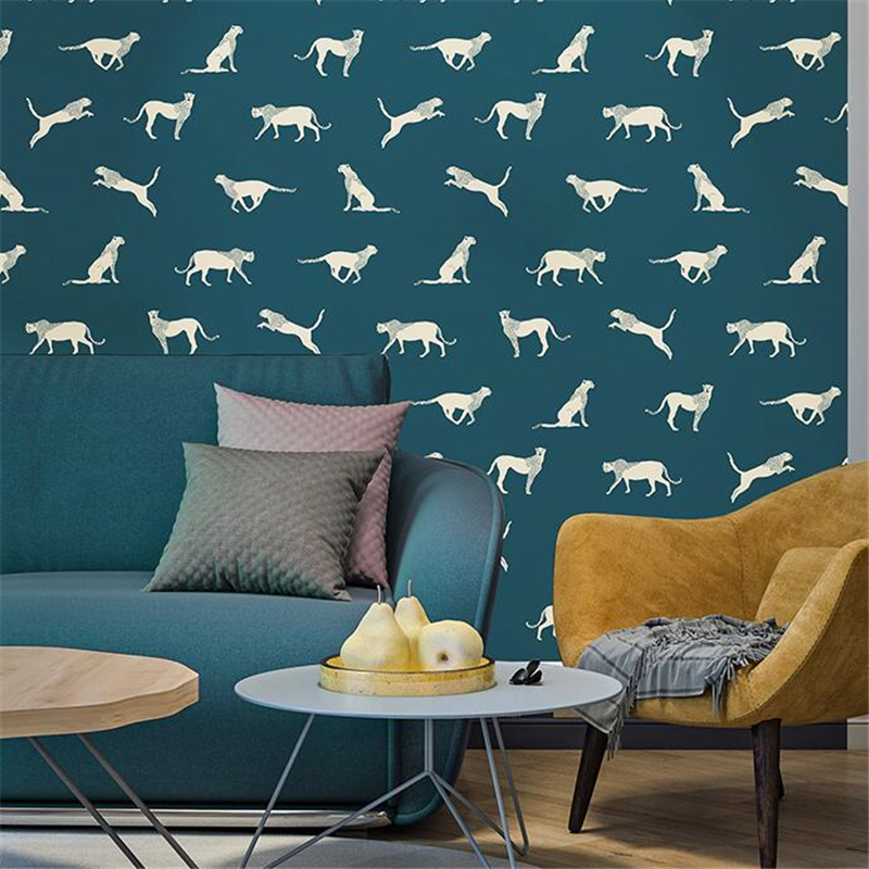 beibehang Nordic ins wallpaper leopard jaguar living room bedroom porch clothing store modern minimalist restaurant wallpaper free shipping watercolor art living room lobby mural fashion salon shop clothing store restaurant lounge bar wallpaper