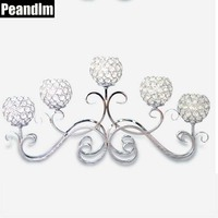 PEANDIM Romantic Vintage Home Decor Wedding Decorations Crystal Wedding Centerpiece Candle Holder