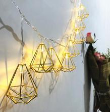 Светодиодный батарейный блок шестиугольный бриллиант капли воды розовое золото геометрический свет строка Ins Рождественская вечеринка украшения