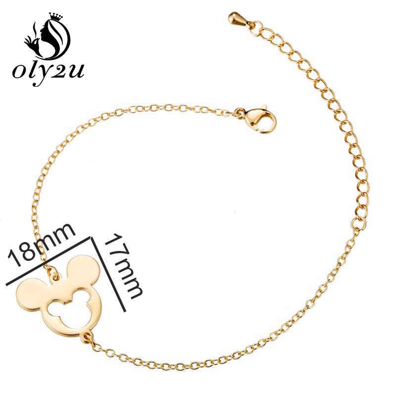 Oly2u מיקי תליון צמידים לנשים קסם צמיד femme רוז זהב שרשרת קישור מתכוונן צמידים & צמידי צמיד homme