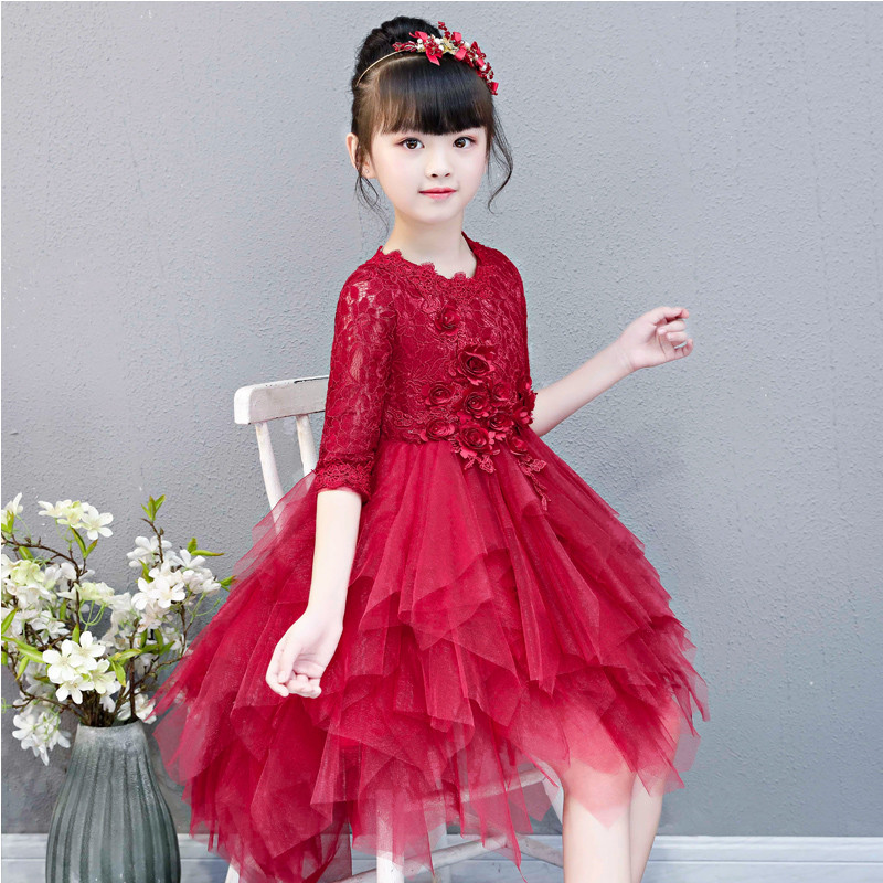 2018 Luxury Children Model Show Catwalk Princess Lace Front Short Back Long Tail Dress Little Girls Teens Evening Birthday Dress 2018 children s catwalk tail dress large children s flower princess sequin embroidered children s dress