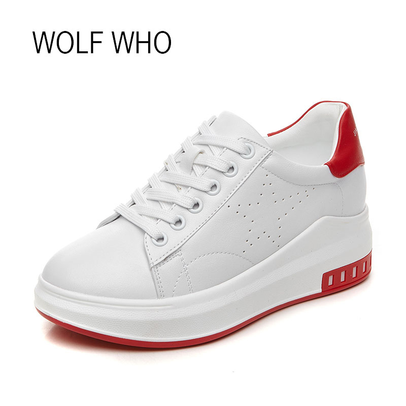 WOLF WHO 2018 Spring Women Leather Hidden Wedge Shoes Ladies Fashion White Platform High Heels Sneakers h-201 wolf who 2018 spirng winter women genuine leather shoes high top women platform shoes creeper platform sneakers wedge h 181