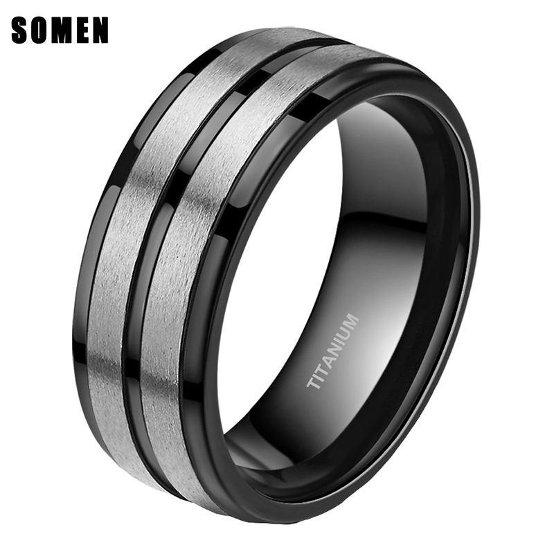8mm Black Groove Brushed Titanium Men Ring Engagement Rings Love Wedding Band Simple Fashion Pride Jewelry bague anel masculino