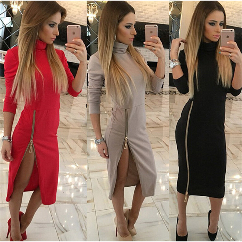 Kaywide High Neck New Autumn Women Casual Dress Side Zipper Up Split Sexy Party Dresses Long