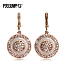 Fashion Unique Exquisite Carved Hollow 585 Rose Gold Circle Round White Ceramic Earrings Women Wedding Party Fine Trendy Jewelry