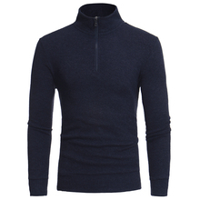 Winter Casual Knitwear Men Sweaters And Pullovers Half Turtleneck Men Sweater Solid Color Wool Zipper Sweaters Male Pullovers