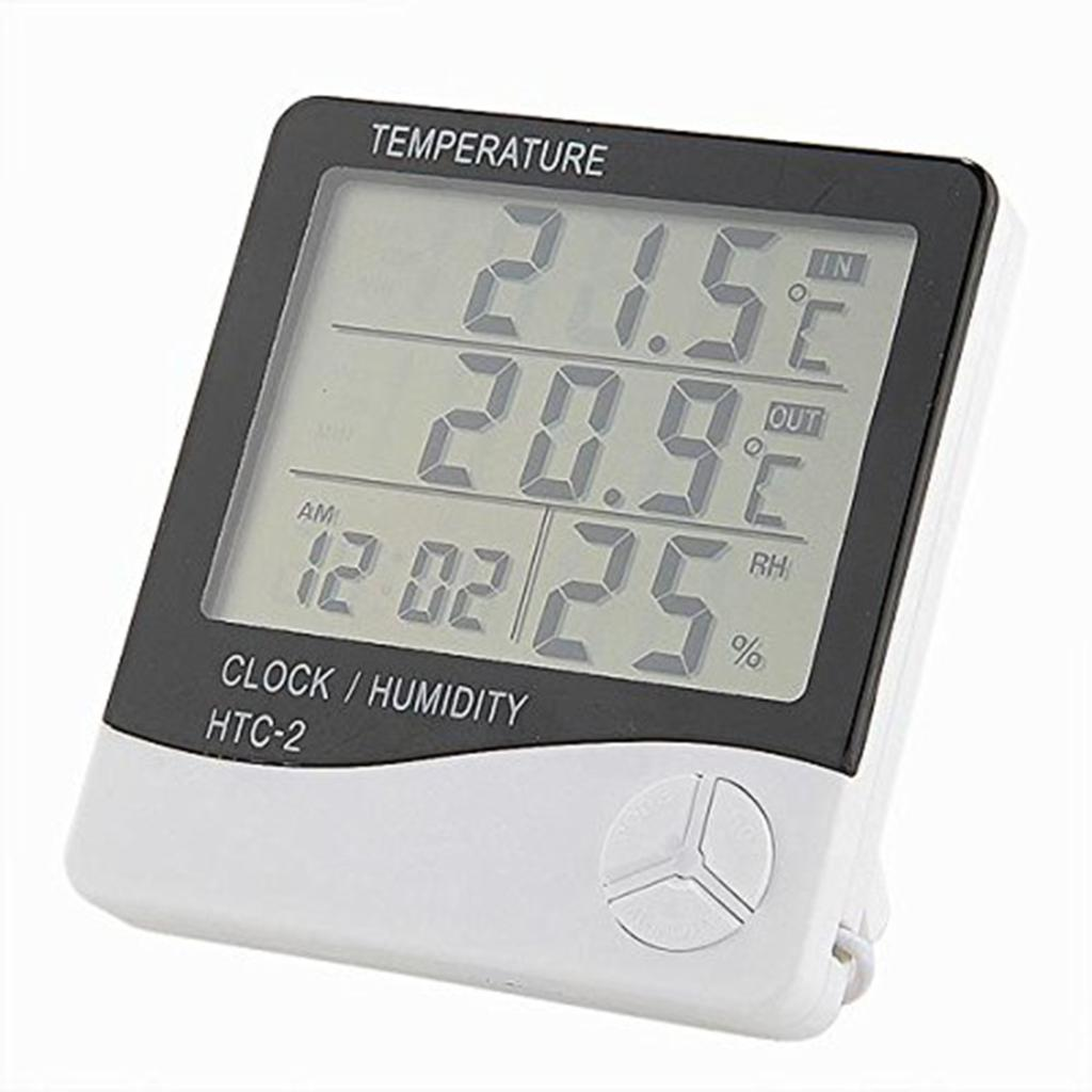 1pc Weather Station Digital LCD Temperature Humidity Meter Indoor/Outdoor Room Thermometer Clock Hygrometer With Sensor HTC-2